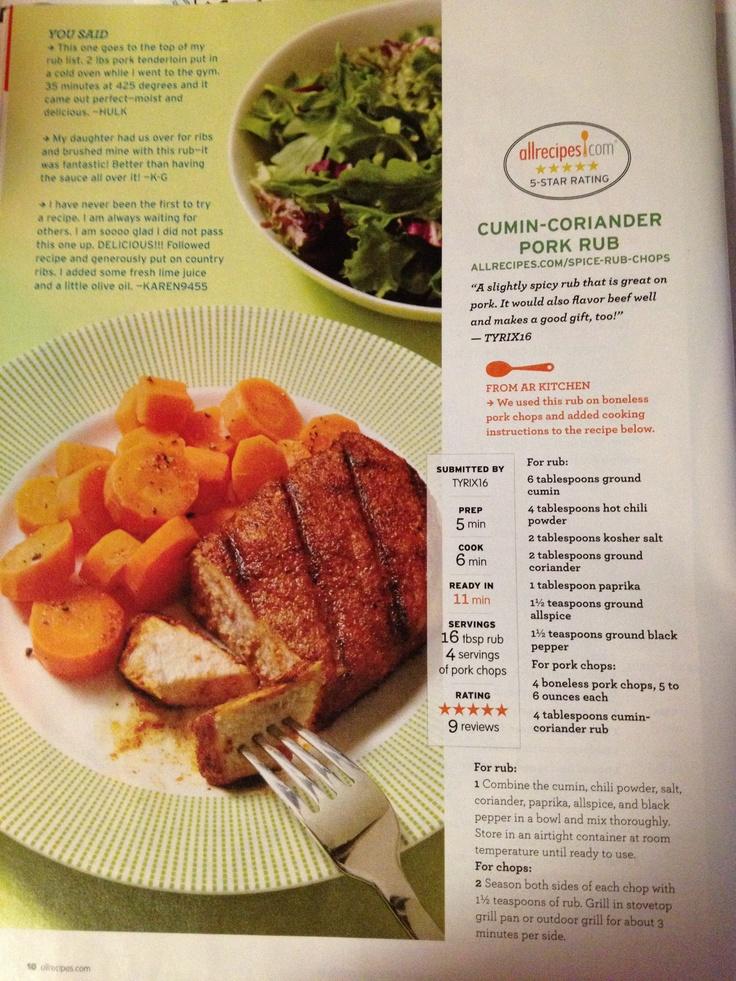 ... black pepper For pork: 4 boneless pork chops 4 tbs cumin coriander rub