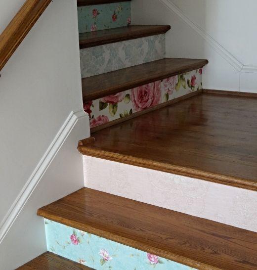 Wallpapered stair risers home decor ideas pinterest - Stair riser decoration ideas ...