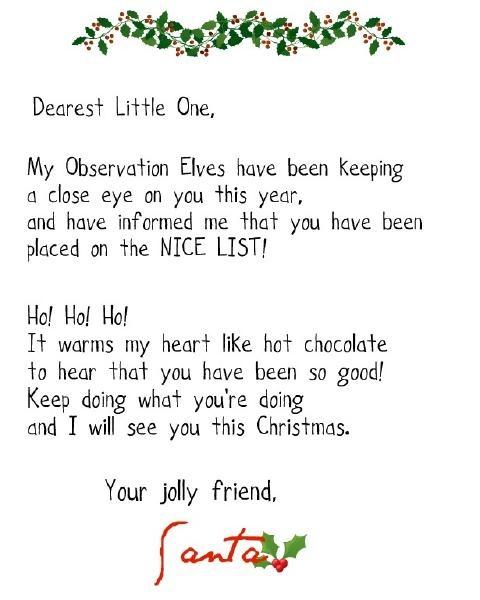 Nice list letter from santa christmas ideas pinterest for Nice list santa letter