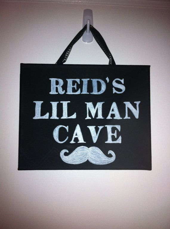 Man Cave Room Sign : Lil man cave sign boy s room mustache