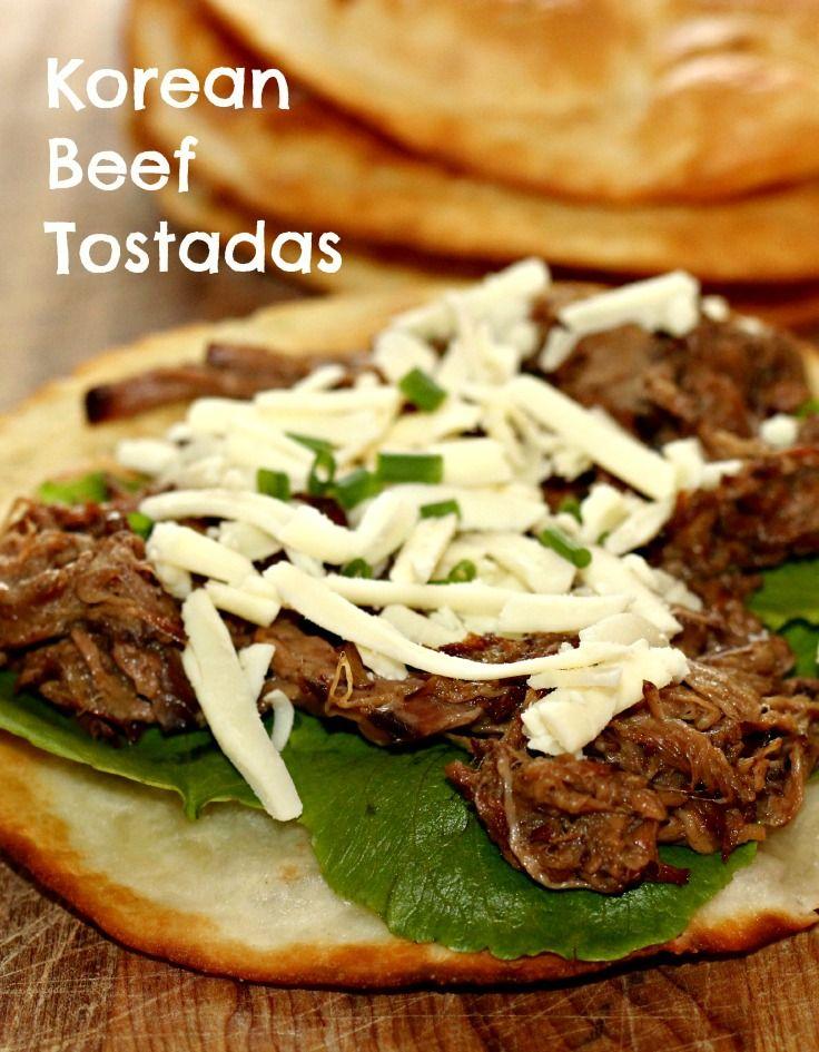 Slow Cooker Korean Beef Tostadas