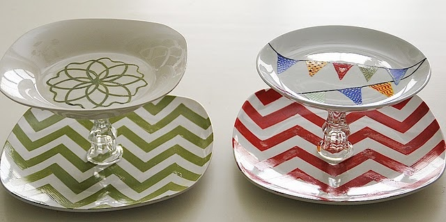 Food trays made from dollar store plates