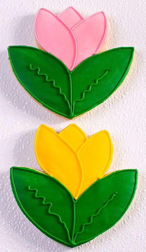 Tulip Hand Decorated Sugar Cookie Favors | Decorated Sugar Cookies ...