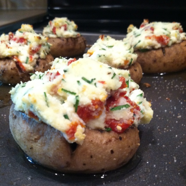 Ricotta chive and smoky sundried tomato stuffed mushrooms