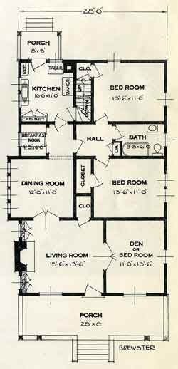1926 Standard House Plans The Brewster Bungalow Living