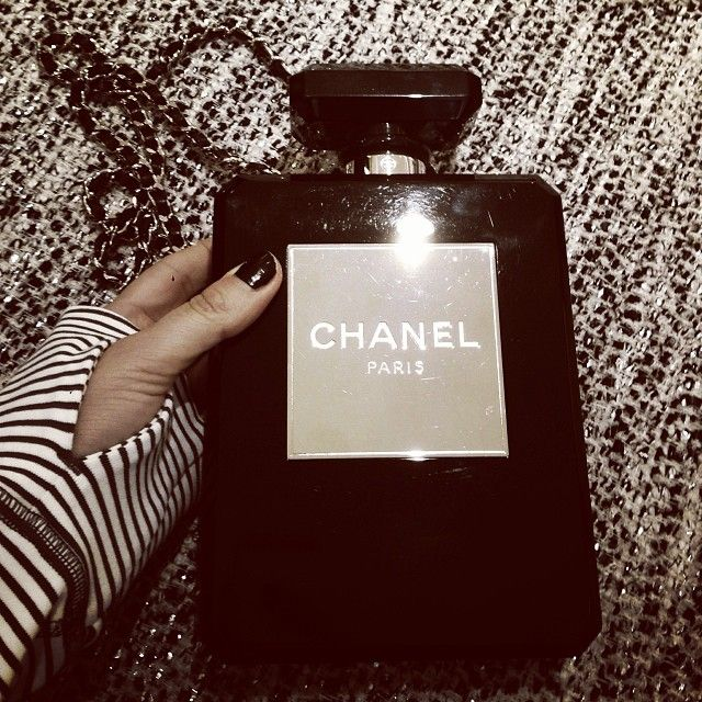 Chanel perfume bottle bag black
