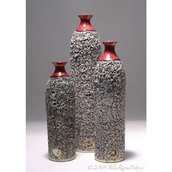 Modern Ceramic Textured Bottle OOAK Wheel by blueroompottery