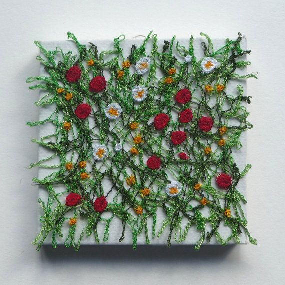 Meadow  Miniature Textile Art Canvas Machine Embroidery
