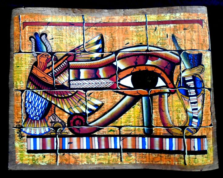 Eye of ra mural ancient egyptian artwork on dark for Egyptian mural painting