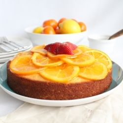Olive Oil Cake with Candied Orange Marmalade and fresh strawberries ...