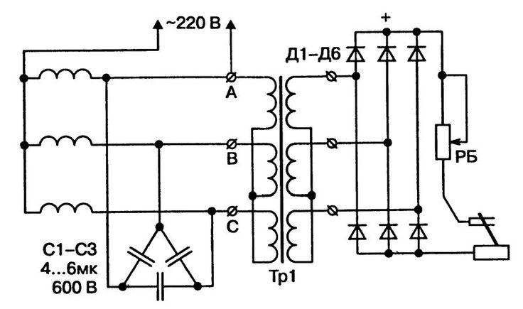 Электрические схемы сварочных аппаратов постоянного тока