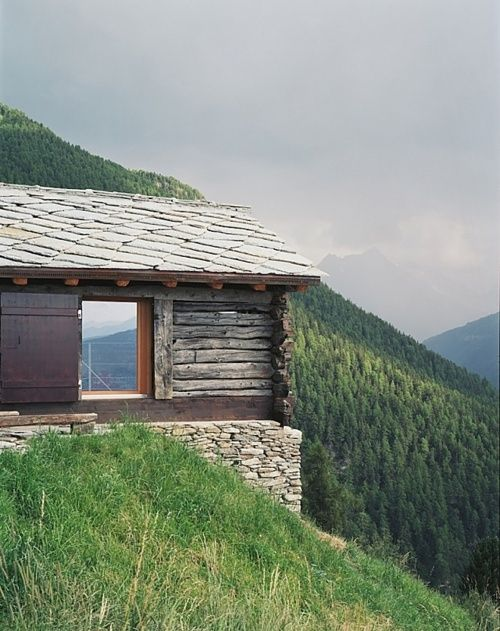 Cabin Shelter In The Swiss Alps Cabin Pinterest