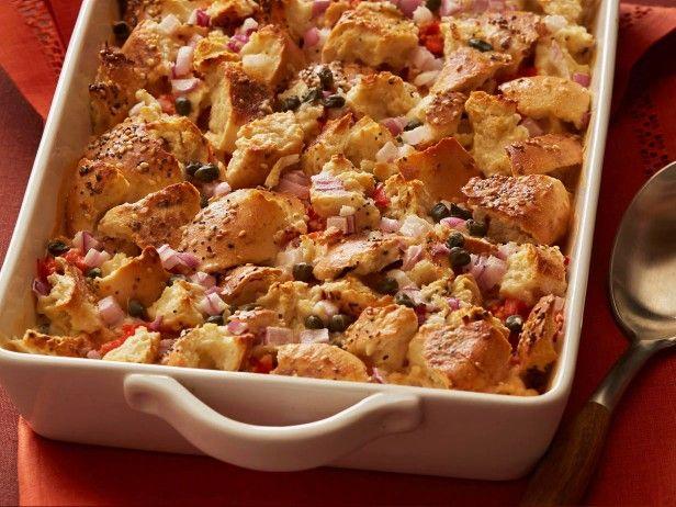 "Ed Koch's Brunch Casserole...""everything"" bagels, cream cheese,..."
