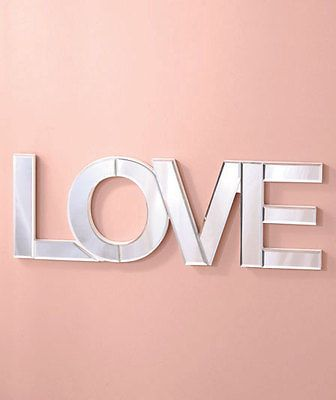 Beautiful love mirror word wall art w beveled glass room for Word wall art