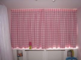 Gordijnen grote ruit roze  Kinderkamer  Pinterest