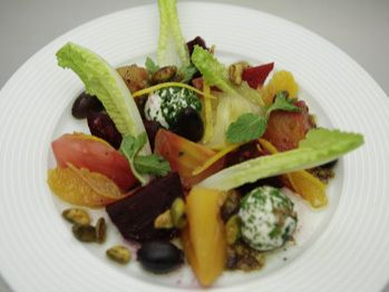 Roasted Beets with Heirloom Tomatoes, Orange, Herb Goat Cheese and Soy ...