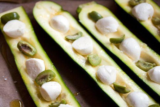Zucchini Boats with Mozzarella and Olives | Recipe