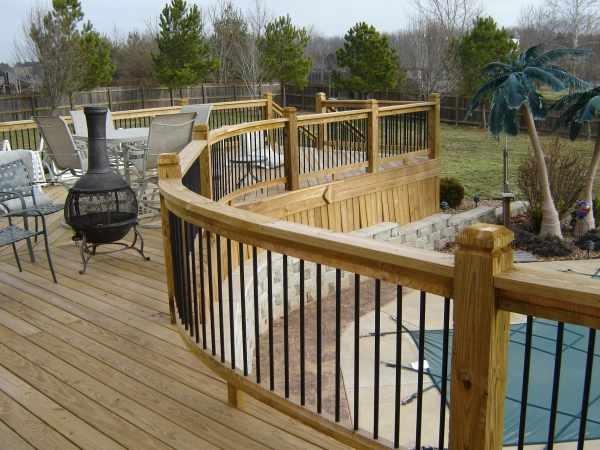 Deck railing ideas pools decks pinterest for Cheap deck ideas