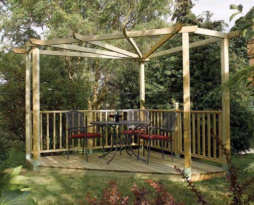 Corner pergola gazebos pergolas pinterest for Garden decking kits uk