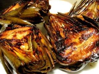 grilled artichoke with vegan lemon aioli sauce