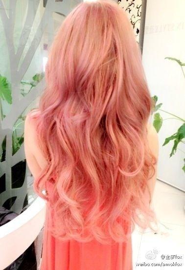 Pink Peach Hair Dye    Hair