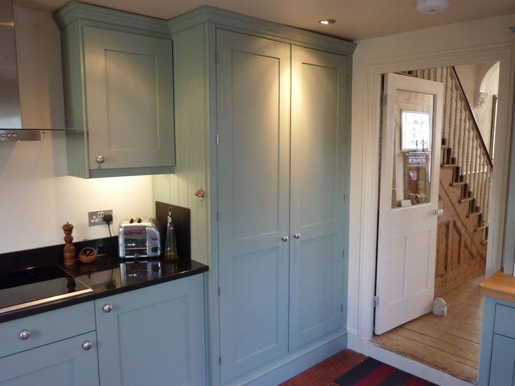 custom made kitchen painted in Farrow and Ball blue grey  Kitchen