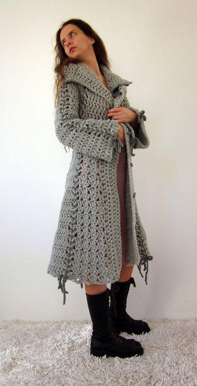Crocheted sweater coat Crochet Jackets & Cardigans etc. Pinterest