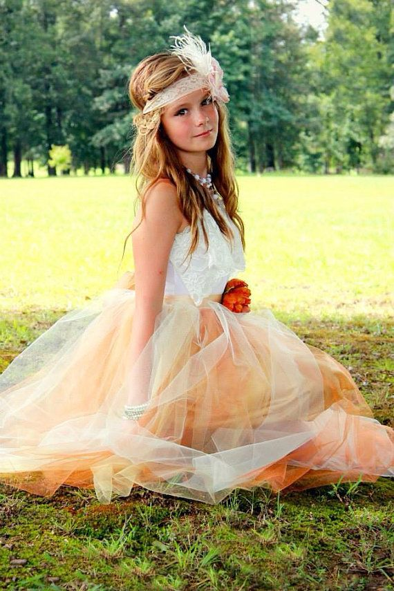Junior Bridesmaid Tulle Dress with Lace Collar by chachalouise, $85.00