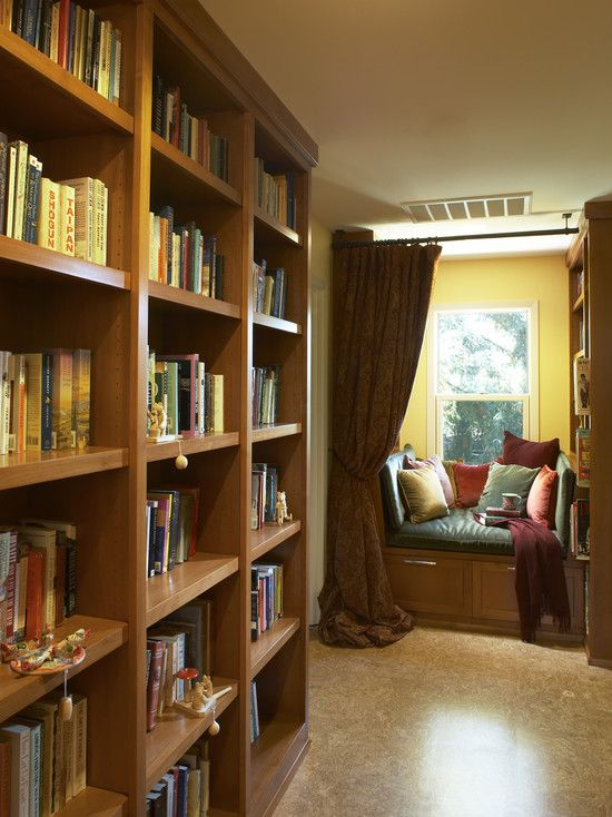Alcove shelves libraries : Library with reading nook