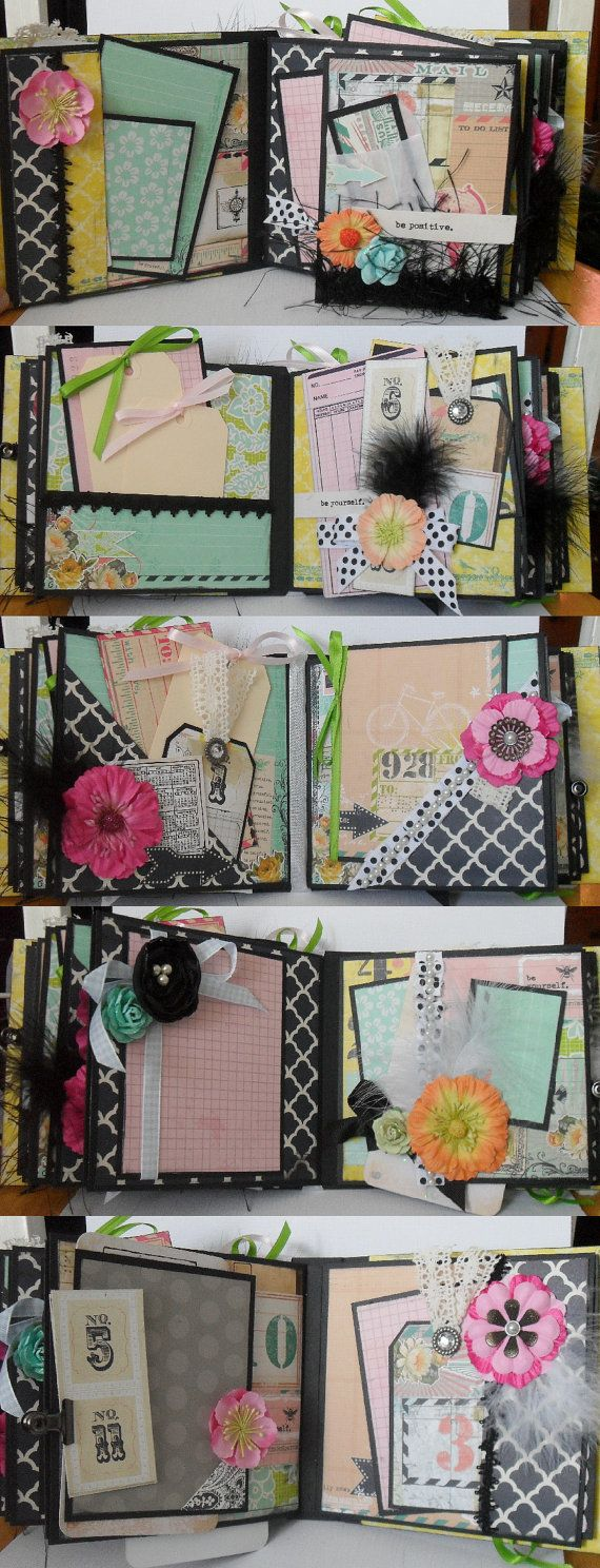 photo album scrapbook mini album bright vintage inspired colors print. Black Bedroom Furniture Sets. Home Design Ideas