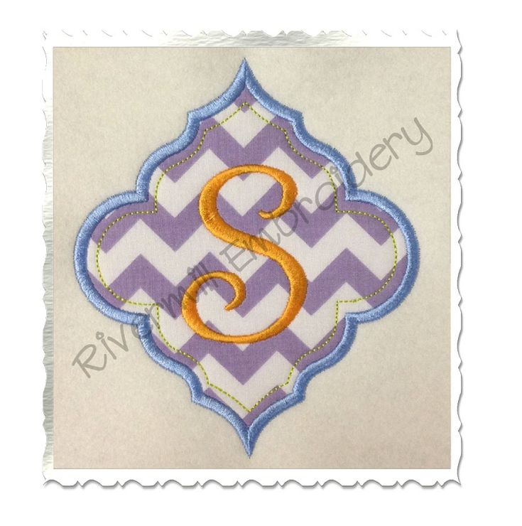 Applique name or monogram frame machine embroidery design