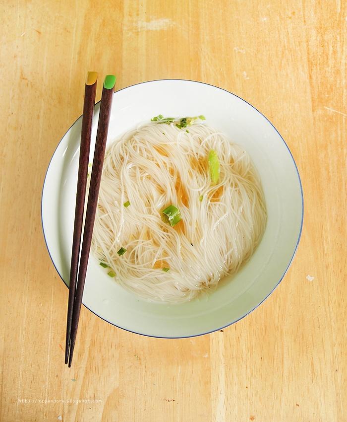 Plain rice noodle soup. Lunch!