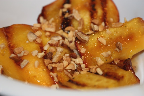 Maple Glazed Grilled Peaches with Toasted Nuts and Ice Cream. We had ...