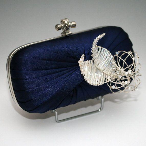 Navy Blue Satin Evening Wedding Clutch Bag by aurajewellery