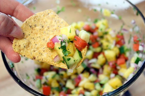 PINEAPPLE SALSA - 2 plum tomatoes - 1/2 small red onion - 1 4-in ...