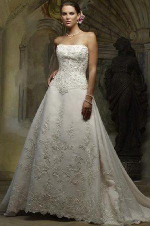 Buy A-Line Strapless Lace Chapel Train Wedding Dress-HuLu