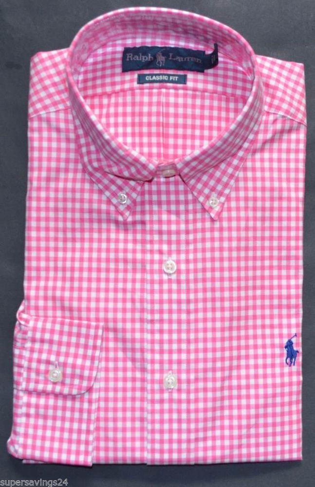 New xl polo ralph lauren men button down dress shirt pink for Pink and white ralph lauren shirt
