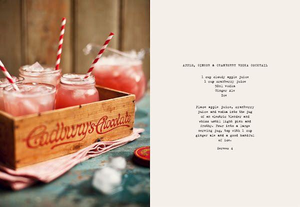apple, ginger, cranberry vodka cocktail
