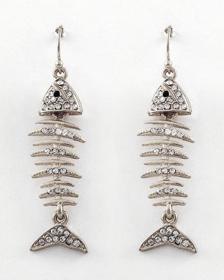 Fish bone dangle earrings jewelry pinterest for Fish bone earrings