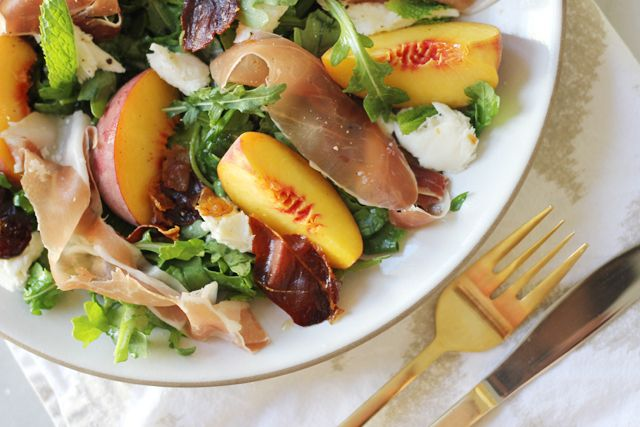 Peach, Mozzarella, And Crispy Prosciutto Salad Recipe — Dishmaps