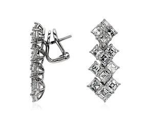 Asscher Drop Diamond Earrings in Platinum  #BlueNile
