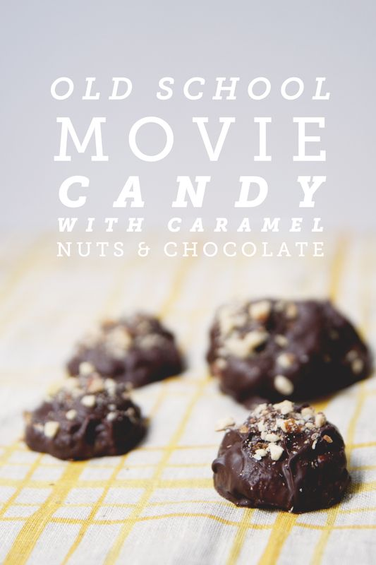 Old School Movie Candy  1 1/2 cups heavy whipping cream   1 cup white sugar  1 cup packed light brown sugar  2 1/2 teaspoons salt  2 teaspoons vanilla extract  9 ounces semisweet chocolate, chopped  2 cups roughly chopped nuts (whatever your favorite are)    Click for recipe!