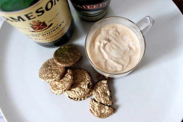 ... whipped cream + edible gold Irish butter oatmeal sandwich cookies