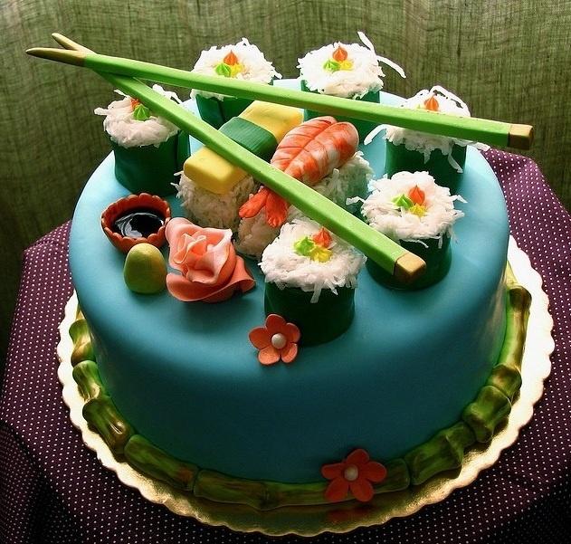 Sushi Cake... Interesting! #cake #sushi #bakery