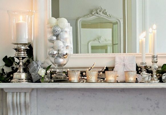 White mantle decorations Christmas Pinterest