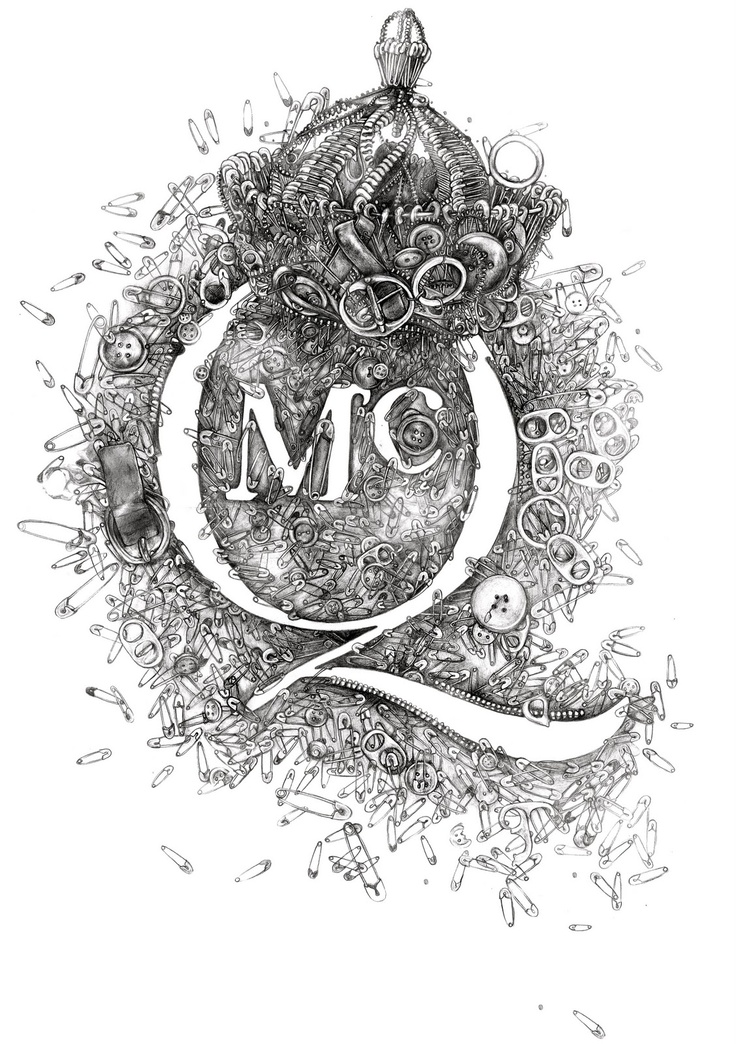 TIMI HAYEK: Pencil drawing for McQ, Alexander McQueen