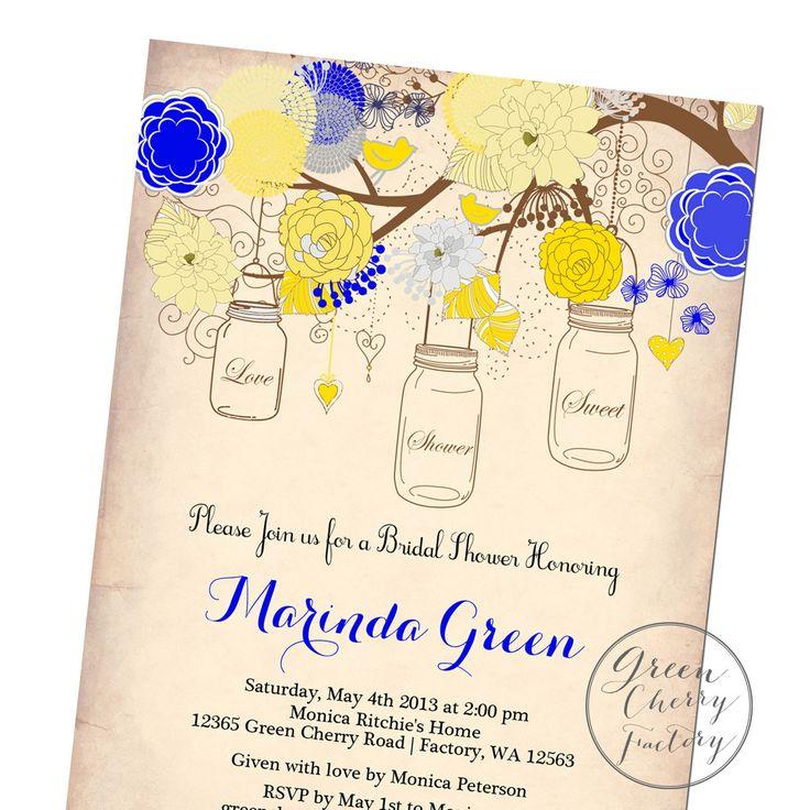 Bridal Shower Invitation Mason Jar by GreenCherryFactory on Etsy, $18 ...