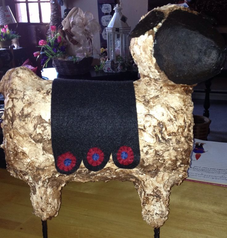 Handmade paper mache primitive sheep with penny blanket.