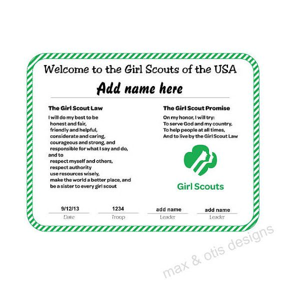 Girl Scout Award Certificate Templates