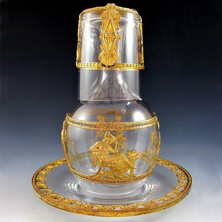Античный французского стекла и Золоченая бронза конной Tumble-Up Графин указан с лотком